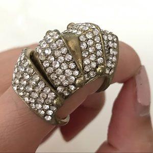 Gold Rhinestone Armor Ring size 7